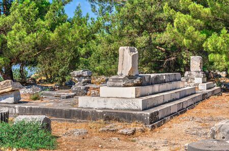 Ruins of the Ancient greek city of Priene in Turkey on a sunny summer day Stock Photo