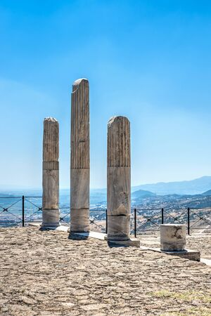 Ruins of the Ancient Greek city Pergamon in Turkey on a sunny summer day Imagens