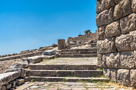 Ruins of the Ancient Greek city Pergamon in Turkey on a sunny summer day