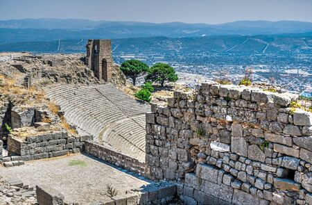 The ruins of an Ancient Theatre in the greek city of Pergamon in Turkey on a sunny summer day