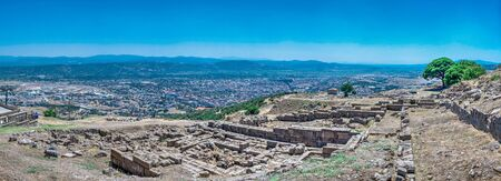 Ruins of the Ancient Greek city Pergamon in Turkey. Big size panoramic view on a sunny summer day