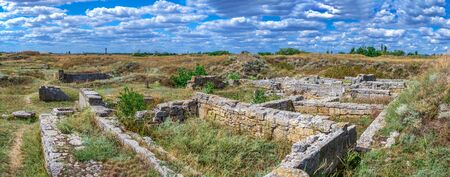 Ancient greek colony Olbia on the banks of the Southern Bug River in Ukraine on a cloudy summer day. Hi-res panoramic photo.