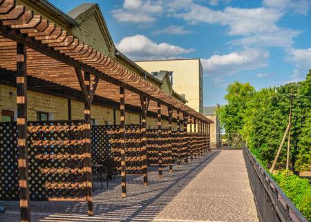 Vesele, Ukraine 07.24.2020. Hotel in Prince Trubetskoy winery castle on a sunny summer day