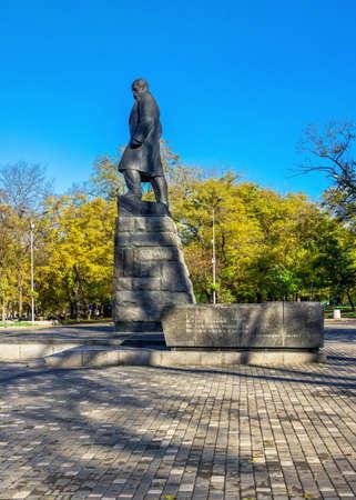 Odessa, Ukraine 11.05.2019. Monument to Taras Shevchenko in Odessa, Ukraine, on a sunny autumn day