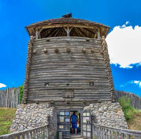 Zaporozhye, Ukraine 07.20.2020. Main entrance with watchtower to the National Reserve Khortytsia in Zaporozhye, Ukraine, on a sunny summer day