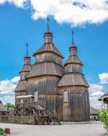 Zaporozhye, Ukraine 07.20.2020. Wooden church in the National Reserve Khortytsia in Zaporozhye, Ukraine, on a sunny summer day