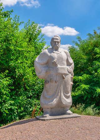 Zaporozhye, Ukraine 07.20.2020. Monument to the Zaporozhye Cossack in the National Reserve Khortytsia in Zaporozhye, Ukraine, on a sunny summer day
