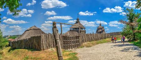 Zaporozhye, Ukraine 07.20.2020. External walls, wooden fence and watchtowers of the National Reserve Khortytsia in Zaporozhye, Ukraine, on a sunny summer day