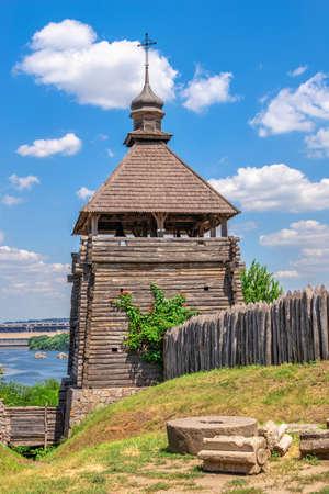 Zaporozhye, Ukraine 07.20.2020. Fortification Watchtower in the National Reserve Khortytsia in Zaporozhye, Ukraine, on a sunny summer day