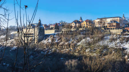 Kamianets-Podilskyi, Ukraine 07/01/2020. Potter tower of the Kamianets-Podilskyi fortress in the early winter morning