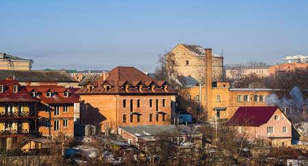 Kamianets-Podilskyi, Ukraine 07/01/2020. Historical Buildings on the old street of Kamianets-Podilskyi old town quarter on a sunny winter morning
