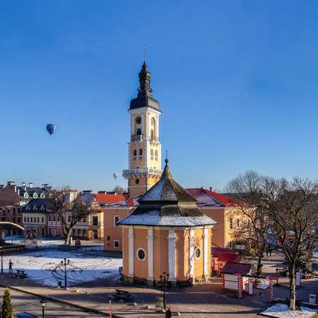 Kamianets-Podilskyi, Ukraine 07/01/2020. The old Town hall of Kamianets-Podilskyi historical center on a sunny winter morning Redakční