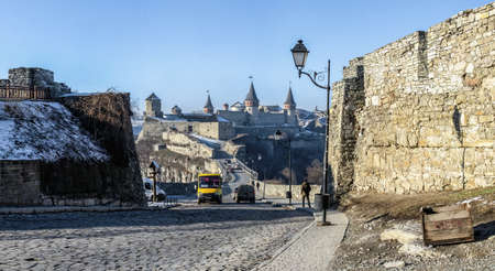 Kamianets-Podilskyi, Ukraine 07/01/2020. City gate of the Kamianets-Podilskyi old town on a sunny winter morning