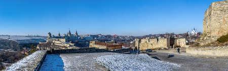 Kamianets-Podilskyi, Ukraine 07/01/2020. Panoramic view of the Kamianets-Podilskyi fortress on a sunny winter morning Redakční