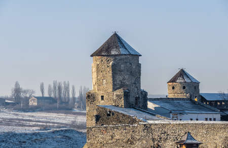 Kamianets-Podilskyi, Ukraine 07/01/2020. Papal tower of the Kamianets-Podilskyi fortress on a sunny winter morning