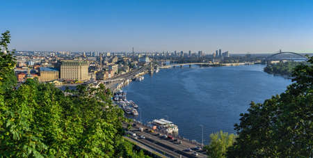 Kyiv, Ukraine 07.11. View of the Dnieper River and the city of Kyiv, Ukraine, from the pedestrian bridge on a sunny summer morning