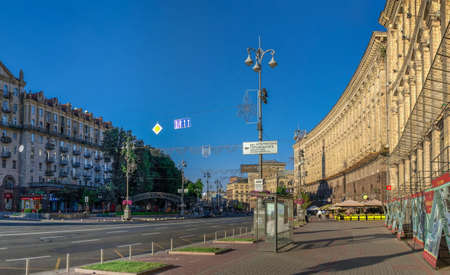 Kyiv, Ukraine 07.11. Historical building on Khreshchatyk street near the Maidan Nazalezhnosti in Kyiv, Ukraine, on a sunny summer morning