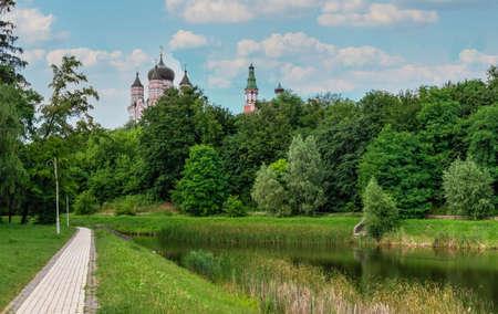 Kyiv, Ukraine 09/07/2020. Feofaniia Park and the Cathedral of St. Panteleimon in Kyiv, Ukraine, on a sunny summer day