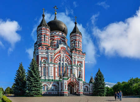 Kyiv, Ukraine 09/07/2020. Cathedral of St. Panteleimon in the Feofaniia Park, Kyiv, Ukraine, on a sunny summer day Redactioneel