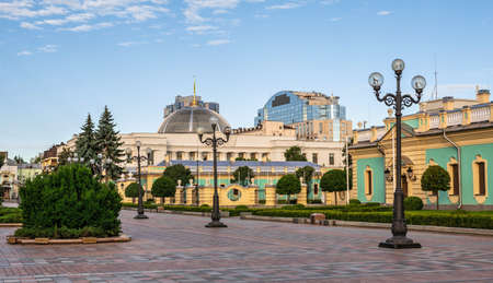 Kyiv, Ukraine 07.11. Constitution Square near the Supreme Council of Ukraine in Kyiv, Ukraine, on a sunny summer morning
