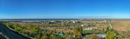 Panoramic top view of the Koblevo resort village near Odessa, Ukraine, on a sunny spring day