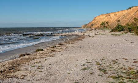 Black Sea coast of the resort village Morskoe, Odessa region, Ukraine, on a sunny spring day Stockfoto