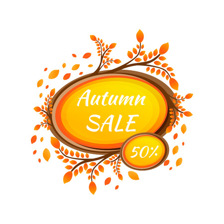 Watercolor autumn foliage vector sale banner 版權商用圖片 - 88184843