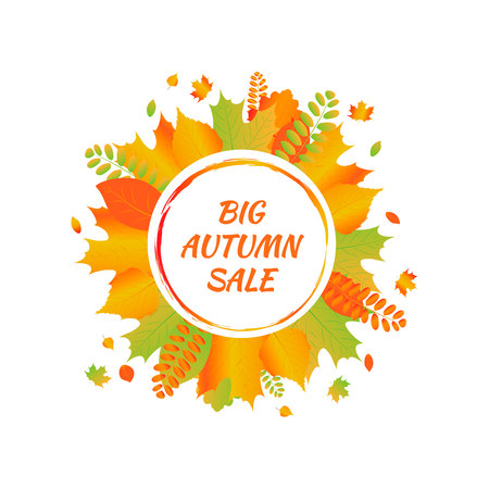 Watercolor autumn foliage vector sale banner 版權商用圖片 - 88184875