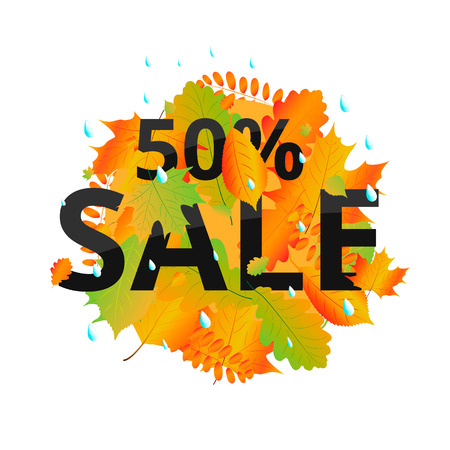 Watercolor autumn foliage vector sale banner 版權商用圖片 - 88184914