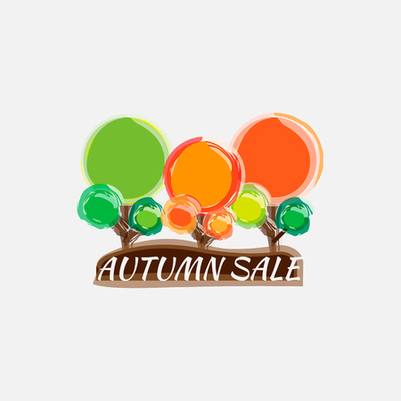 Watercolor autumn foliage vector sale banner 版權商用圖片 - 88184917
