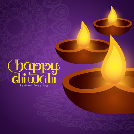 Illustration for Diwali festival with beautiful lamps Illustration