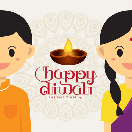 indian boy: Illustration for Diwali festival with Cute Indian boy and girl Illustration
