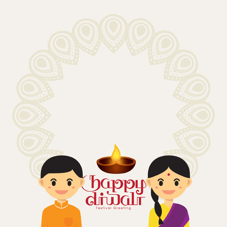 indian boy: Message Board for Diwali festival with Cute Indian boy and girl