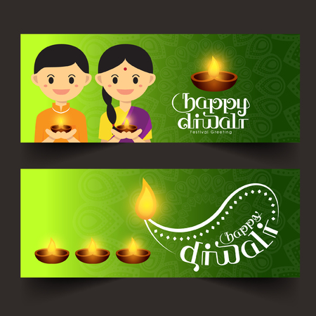 indian boy: Set of Illustration for Diwali festival with Cute Indian boy and girl, Beautiful lamps