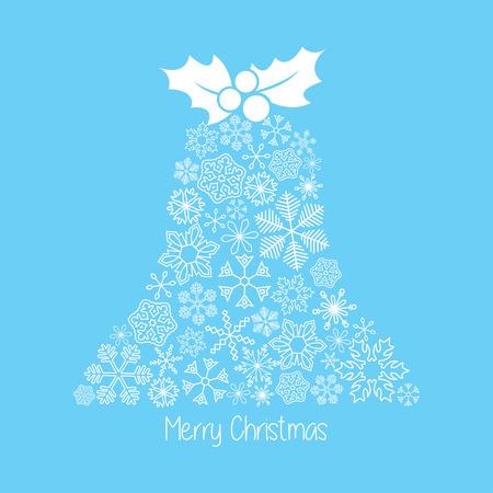 Vector Christmas card. Snowflakes bell