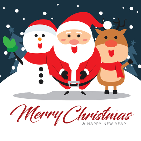 Merry Christmas companions with Santa Claus, Snowman and Reindeer