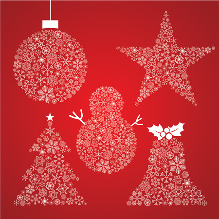 Vector Christmas tree, decorations made from simple snowflakes Illustration