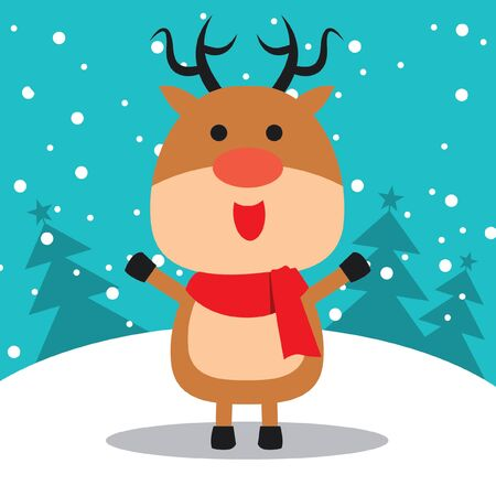 Merry Christmas greeting of cute red-nosed Reindeer
