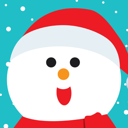 outstretched: Merry Christmas greeting of cute Snowman