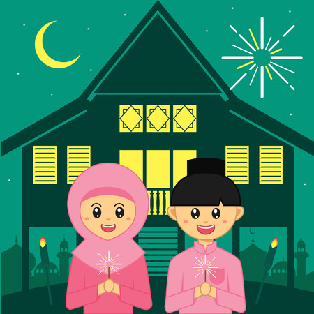 Hari Raya Aidilfitri vector illustration. Cute muslim boy and girl with traditional malay village house  kampung. Caption: Fasting Day of Celebration