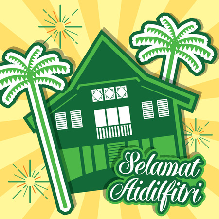 palm oil: Hari Raya Aidilfitri vector illustration with traditional malay village house  Kampung. Caption: Fasting Day of Celebration
