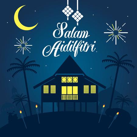 Selamat Hari Raya Aidilfitri vector illustration with traditional malay village house  Kampung. Caption: Fasting Day of Celebration