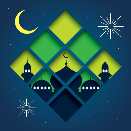 Selamat Hari Raya Aidilfitri vector illustration with traditional malay mosque.