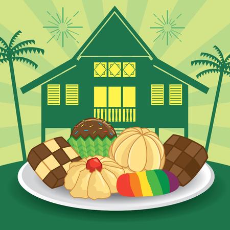Selamat Hari Raya Aidilfitri vector illustration with traditional kuih raya and maly kampung / village house. Caption: Fasting Day of Celebration