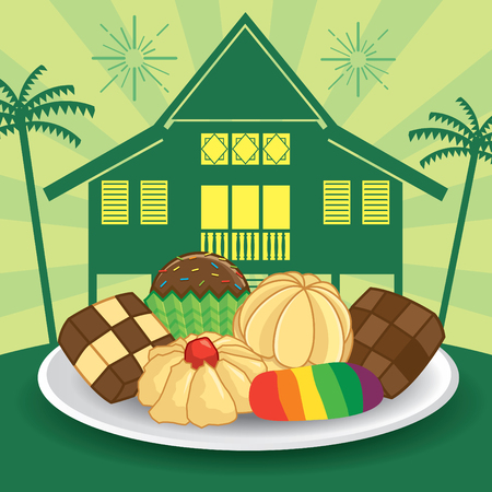 Selamat Hari Raya Aidilfitri vector illustration with traditional kuih raya and maly kampung / village house. Caption: Fasting Day of Celebration