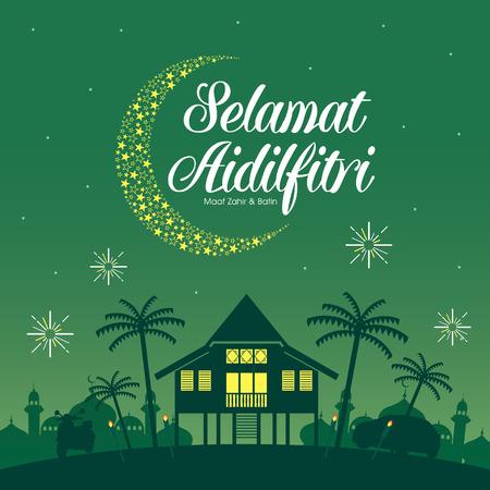 Selamat Hari Raya Aidilfitri illustration vectorielle avec la maison traditionnelle du village Malay / Kampung. Légende: Journée de célébration du jeûne Banque d'images - 79013939