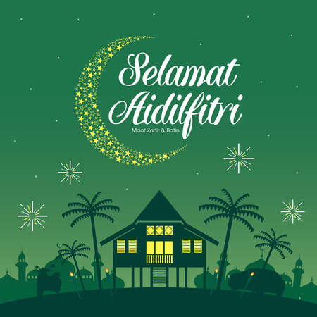 Selamat Hari Raya Aidilfitri vector illustration with traditional malay village house  Kampung. Caption: Fasting Day of Celebration