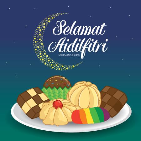 Selamat Hari Raya Aidilfitri vector illustration with traditional kuih raya. Caption: Fasting Day of Celebration