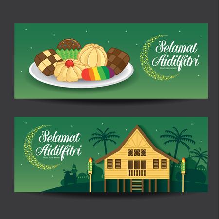 Selamat Hari Raya Aidilfitri vector illustration with traditional malay village house  Kampung & kuih raya. Caption: Fasting Day of Celebration