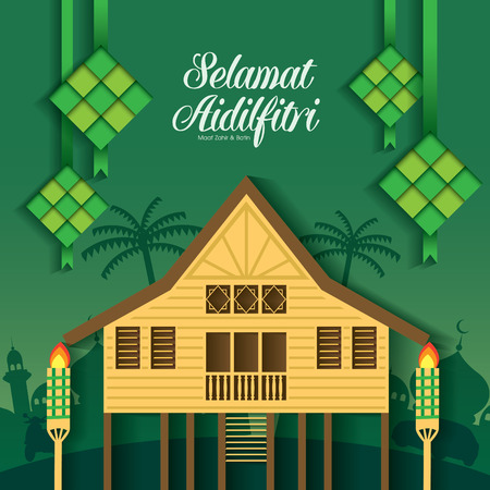 Selamat Hari Raya Aidilfitri vector illustration with traditional malay village house / Kampung. Caption: Fasting Day of Celebration Banco de Imagens - 80112887